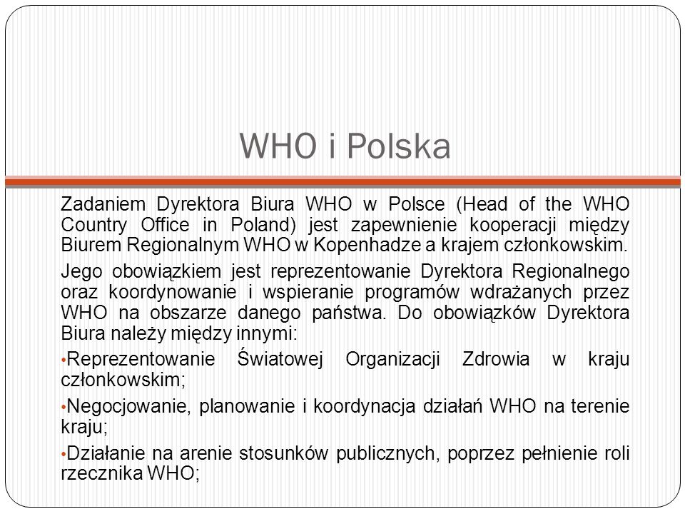 WHO i Polska
