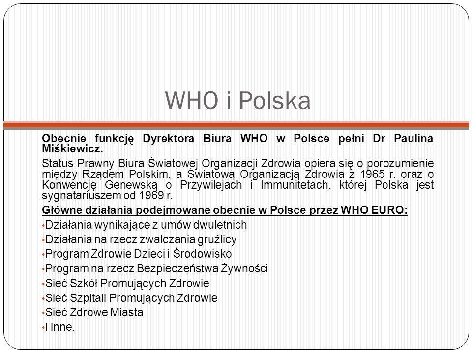 WHO i PolskaObecnie funkcję Dyrektora Biura WHO w Polsce pełni Dr Paulina Miśkiewicz.
