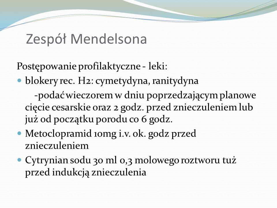 Zespół Mendelsona Postępowanie profilaktyczne - leki: