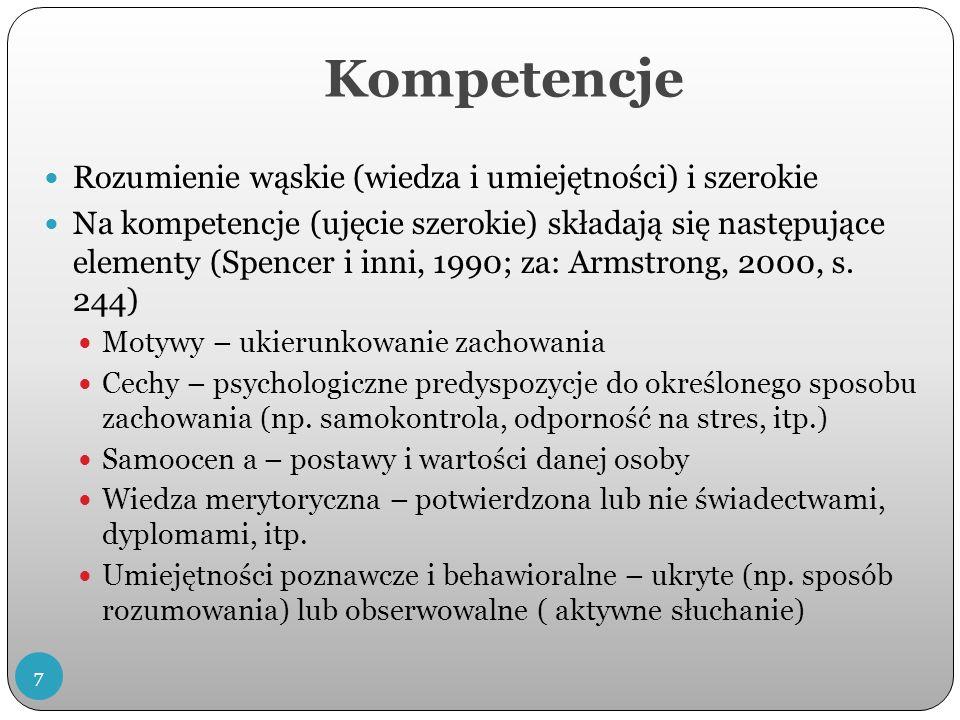 Kompetencje Rozumienie wąskie (wiedza i umiejętności) i szerokie