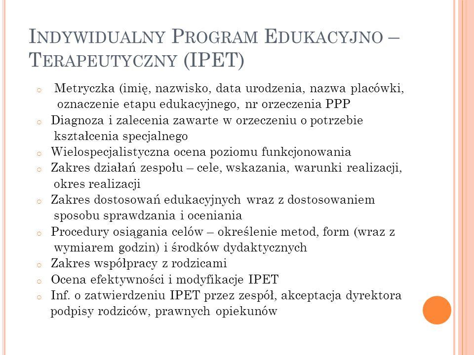Indywidualny Program Edukacyjno – Terapeutyczny (IPET)