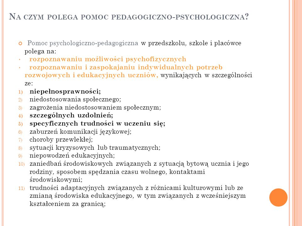 Na czym polega pomoc pedagogiczno-psychologiczna