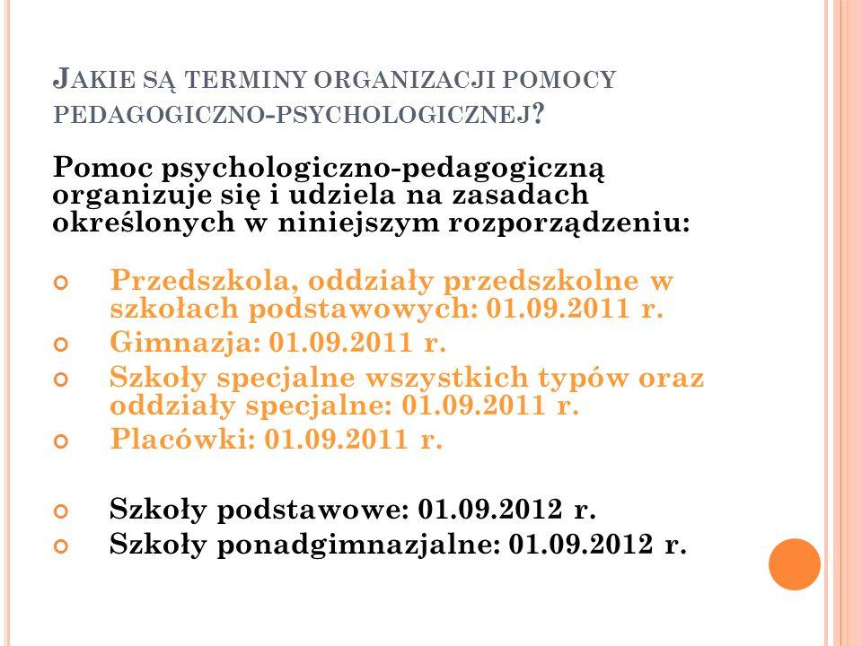 Jakie są terminy organizacji pomocy pedagogiczno-psychologicznej