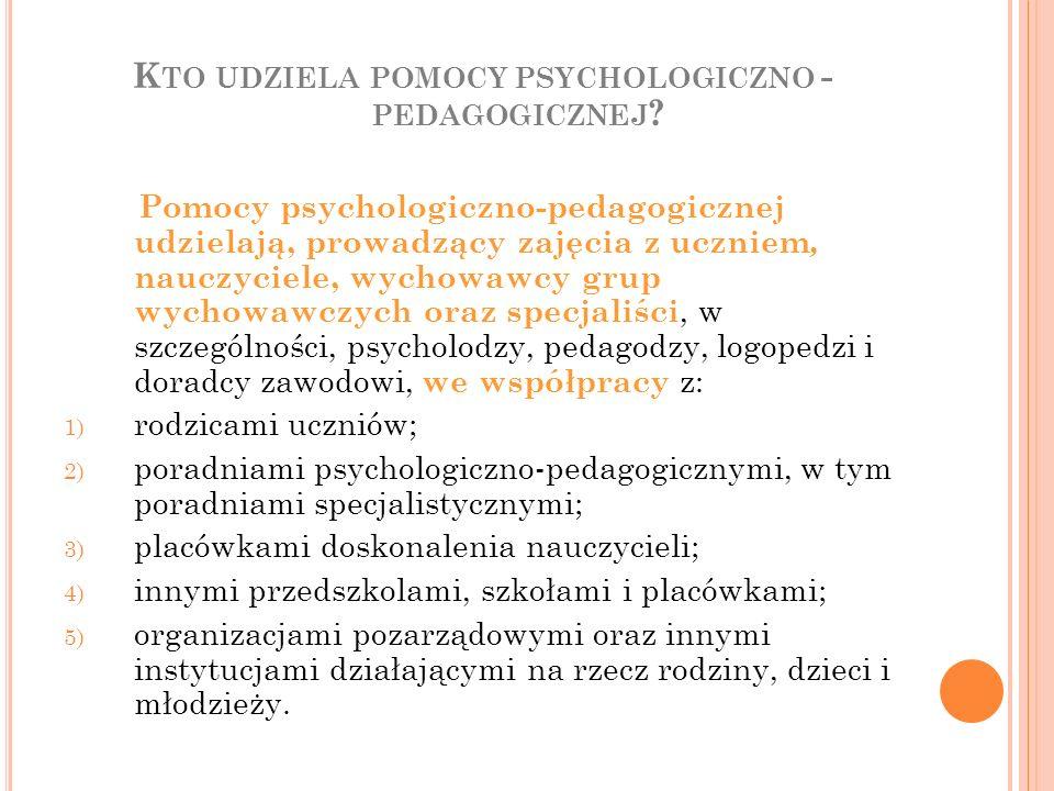 Kto udziela pomocy psychologiczno -pedagogicznej