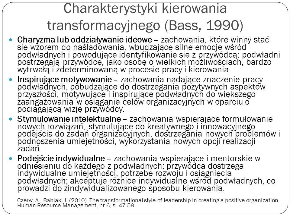 Charakterystyki kierowania transformacyjnego (Bass, 1990)