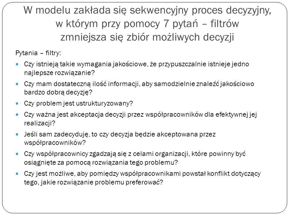 W modelu zakłada się sekwencyjny proces decyzyjny, w którym przy pomocy 7 pytań – filtrów zmniejsza się zbiór możliwych decyzji