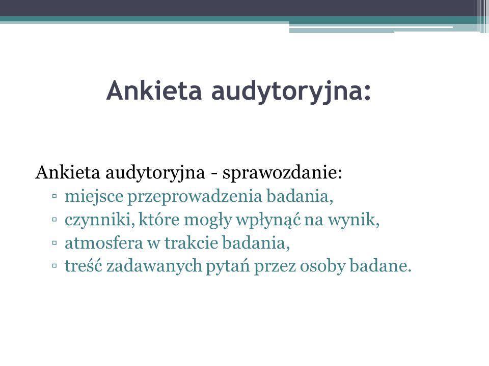 Ankieta audytoryjna: Ankieta audytoryjna - sprawozdanie: