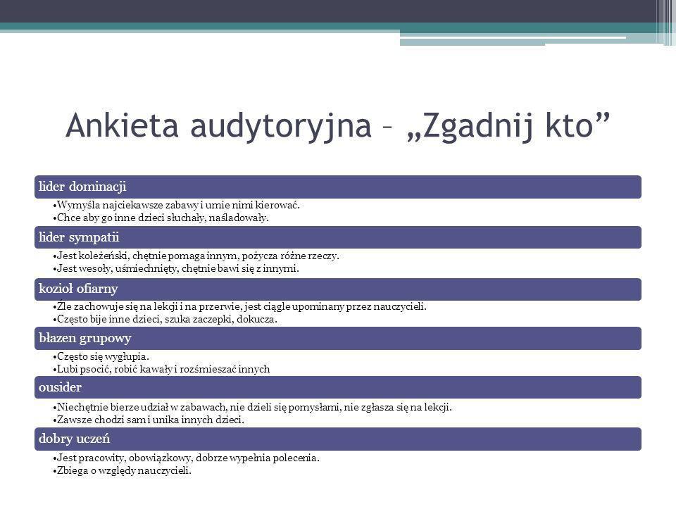 """Ankieta audytoryjna – """"Zgadnij kto"""