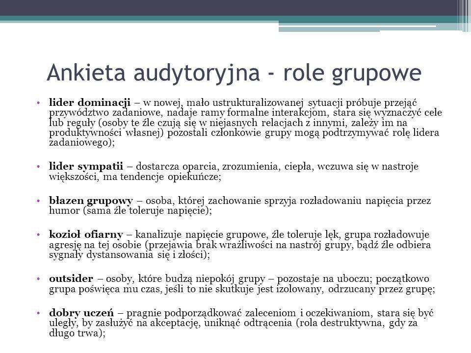 Ankieta audytoryjna - role grupowe