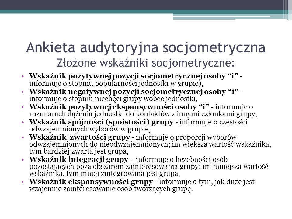 Ankieta audytoryjna socjometryczna Złożone wskaźniki socjometryczne: