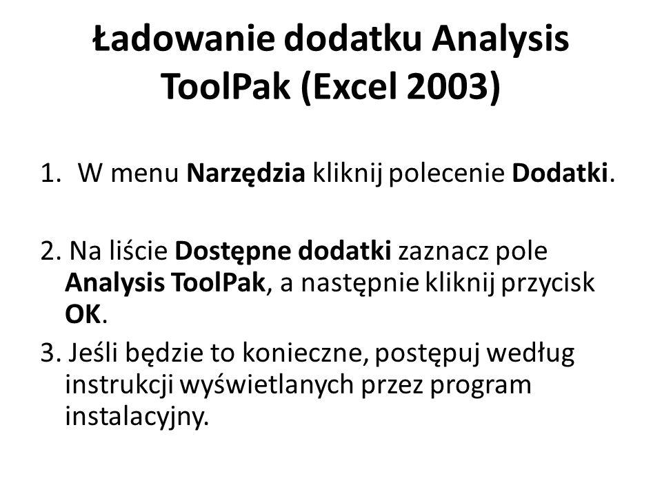 Ładowanie dodatku Analysis ToolPak (Excel 2003)
