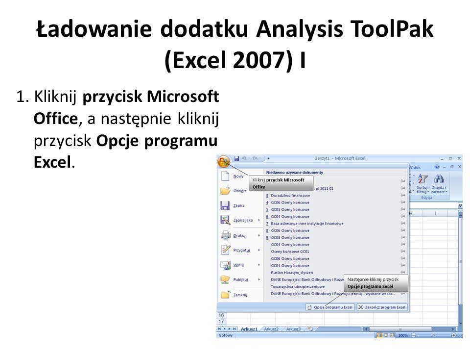 Ładowanie dodatku Analysis ToolPak (Excel 2007) I