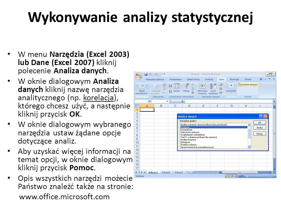 Wykonywanie analizy statystycznej