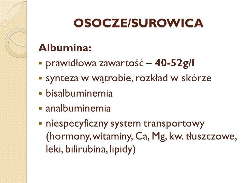 OSOCZE/SUROWICA Albumina: prawidłowa zawartość – 40-52g/l