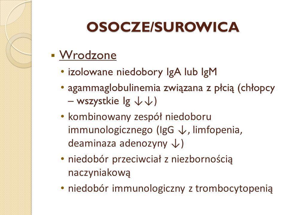 OSOCZE/SUROWICA Wrodzone izolowane niedobory IgA lub IgM