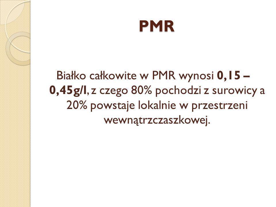 PMR Białko całkowite w PMR wynosi 0,15 – 0,45g/l, z czego 80% pochodzi z surowicy a 20% powstaje lokalnie w przestrzeni wewnątrzczaszkowej.