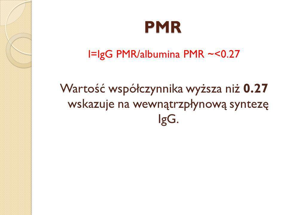 I=IgG PMR/albumina PMR ~<0.27