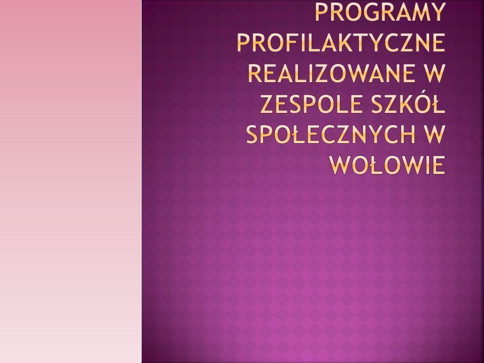 Programy profilaktyczne realizowane w Zespole Szkół Społecznych w Wołowie