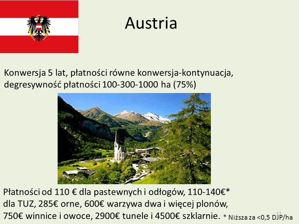 AustriaKonwersja 5 lat, płatności równe konwersja-kontynuacja, degresywność płatności 100-300-1000 ha (75%)