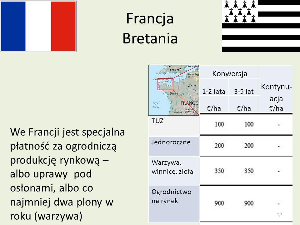 Francja BretaniaKonwersja. Kontynu- acja €/ha. 1-2 lata. 3-5 lat.