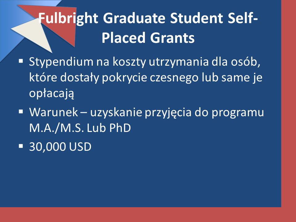 Fulbright Graduate Student Self-Placed Grants