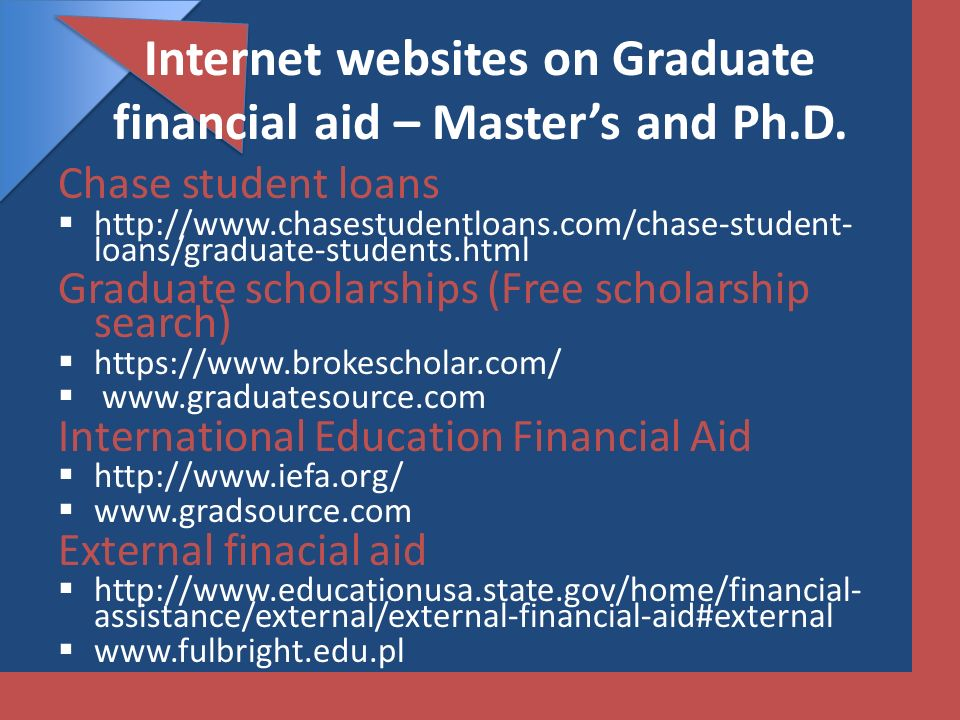 Internet websites on Graduate financial aid – Master's and Ph.D.