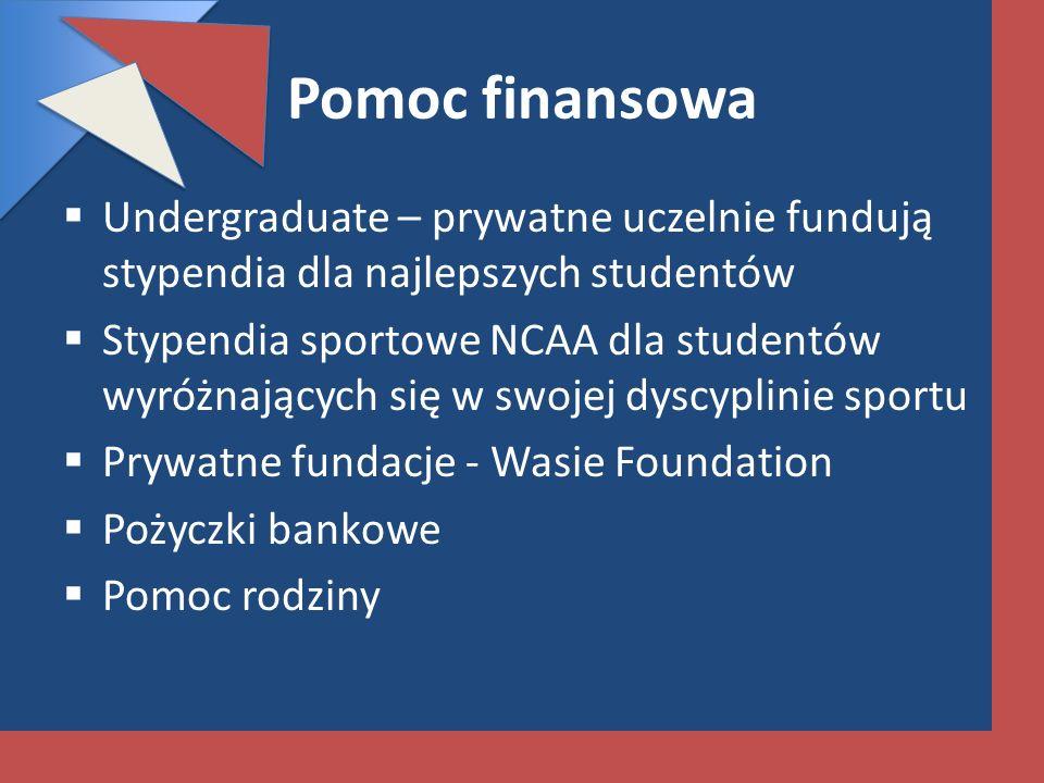 Pomoc finansowa Undergraduate – prywatne uczelnie fundują stypendia dla najlepszych studentów.