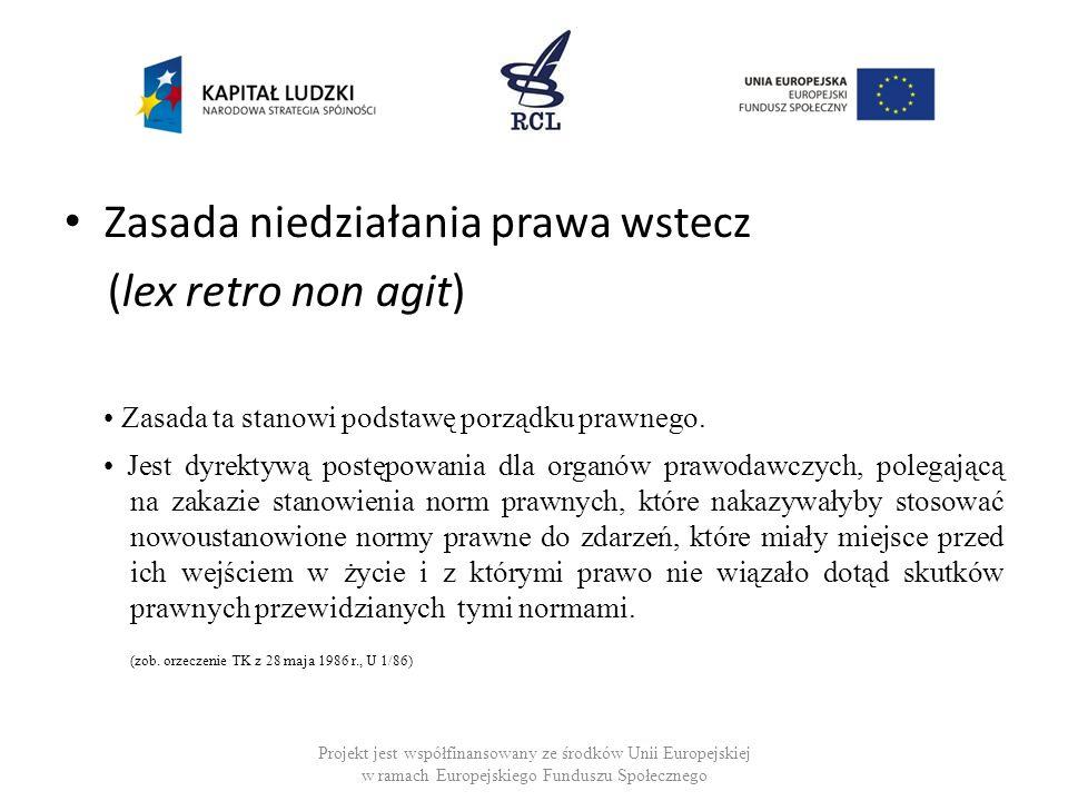 Zasada niedziałania prawa wstecz (lex retro non agit)
