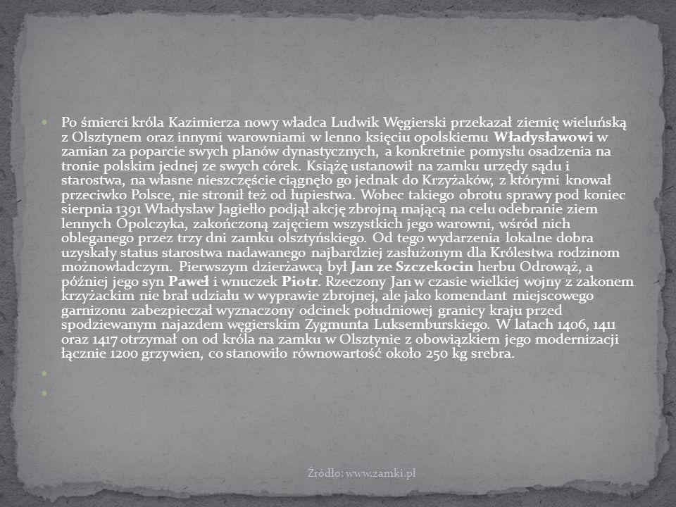 Po śmierci króla Kazimierza nowy władca Ludwik Węgierski przekazał ziemię wieluńską z Olsztynem oraz innymi warowniami w lenno księciu opolskiemu Władysławowi w zamian za poparcie swych planów dynastycznych, a konkretnie pomysłu osadzenia na tronie polskim jednej ze swych córek. Książę ustanowił na zamku urzędy sądu i starostwa, na własne nieszczęście ciągnęło go jednak do Krzyżaków, z którymi knował przeciwko Polsce, nie stronił też od łupiestwa. Wobec takiego obrotu sprawy pod koniec sierpnia 1391 Władysław Jagiełło podjął akcję zbrojną mającą na celu odebranie ziem lennych Opolczyka, zakończoną zajęciem wszystkich jego warowni, wśród nich obleganego przez trzy dni zamku olsztyńskiego. Od tego wydarzenia lokalne dobra uzyskały status starostwa nadawanego najbardziej zasłużonym dla Królestwa rodzinom możnowładczym. Pierwszym dzierżawcą był Jan ze Szczekocin herbu Odrowąż, a później jego syn Paweł i wnuczek Piotr. Rzeczony Jan w czasie wielkiej wojny z zakonem krzyżackim nie brał udziału w wyprawie zbrojnej, ale jako komendant miejscowego garnizonu zabezpieczał wyznaczony odcinek południowej granicy kraju przed spodziewanym najazdem węgierskim Zygmunta Luksemburskiego. W latach 1406, 1411 oraz 1417 otrzymał on od króla na zamku w Olsztynie z obowiązkiem jego modernizacji łącznie 1200 grzywien, co stanowiło równowartość około 250 kg srebra.