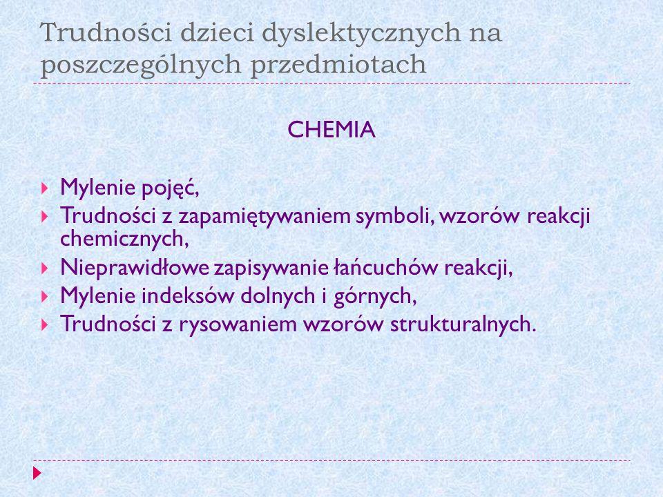 Trudności dzieci dyslektycznych na poszczególnych przedmiotach
