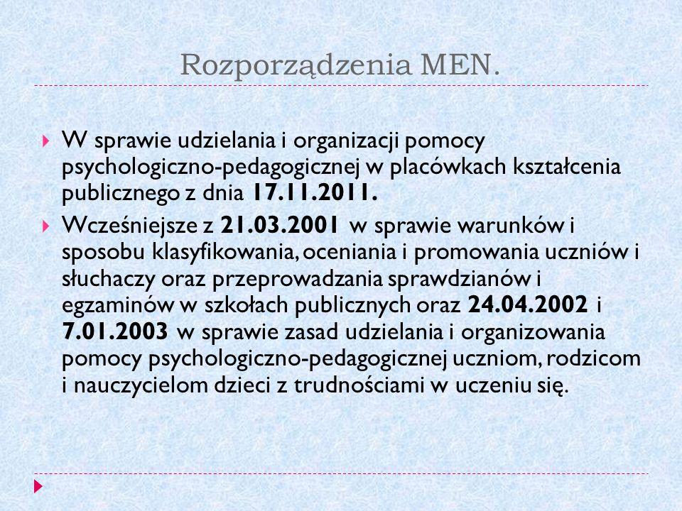 Rozporządzenia MEN. W sprawie udzielania i organizacji pomocy psychologiczno-pedagogicznej w placówkach kształcenia publicznego z dnia 17.11.2011.