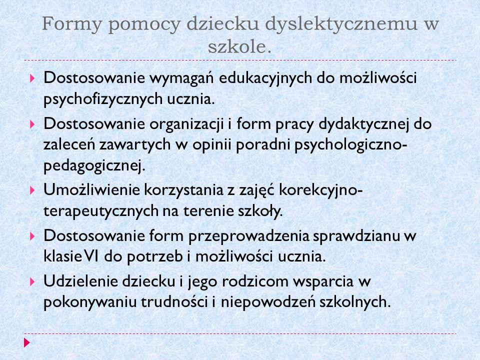 Formy pomocy dziecku dyslektycznemu w szkole.