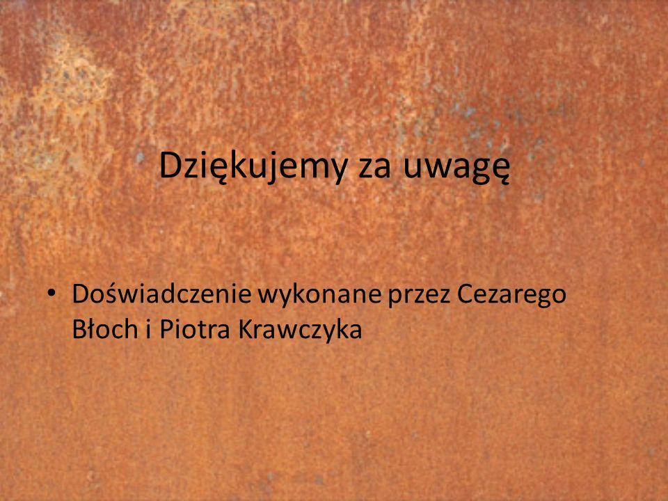 Dziękujemy za uwagę Doświadczenie wykonane przez Cezarego Błoch i Piotra Krawczyka