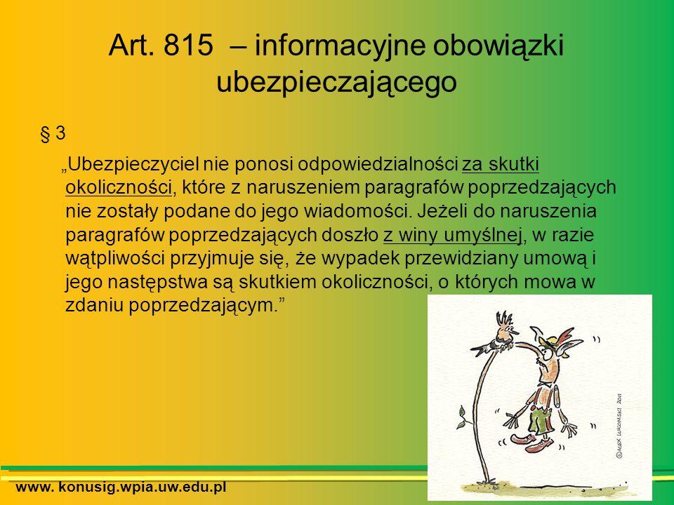 Art. 815 – informacyjne obowiązki ubezpieczającego
