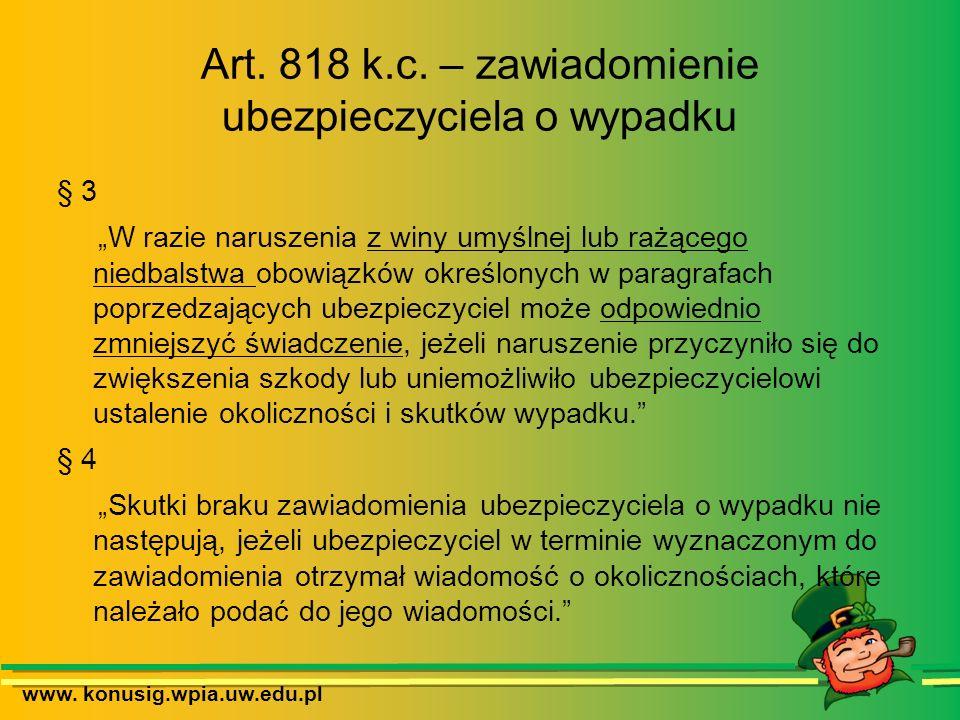 Art. 818 k.c. – zawiadomienie ubezpieczyciela o wypadku