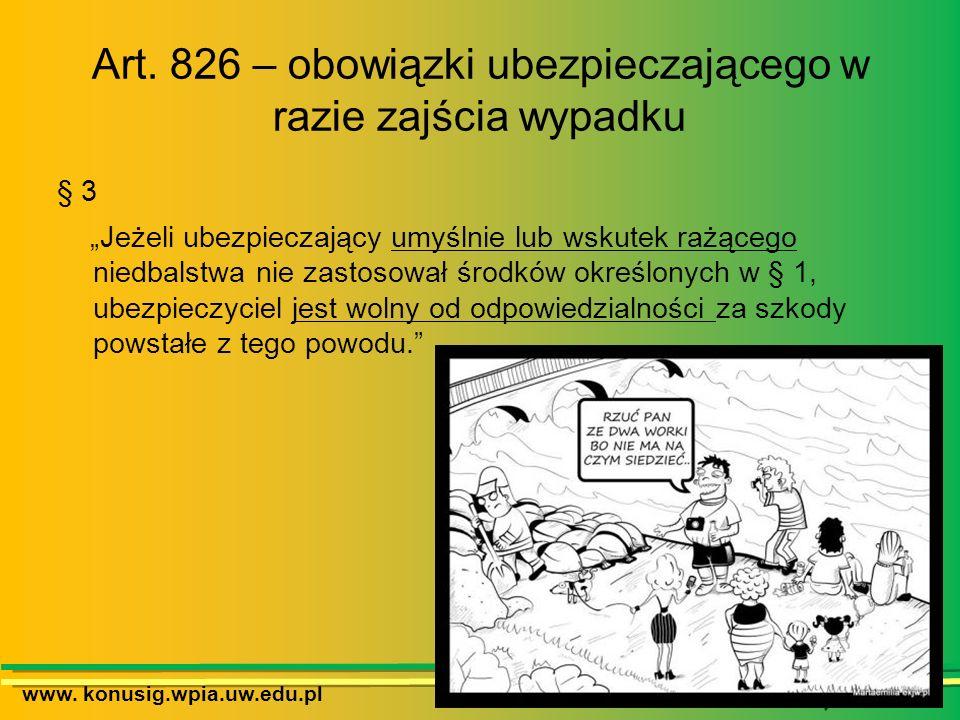 Art. 826 – obowiązki ubezpieczającego w razie zajścia wypadku