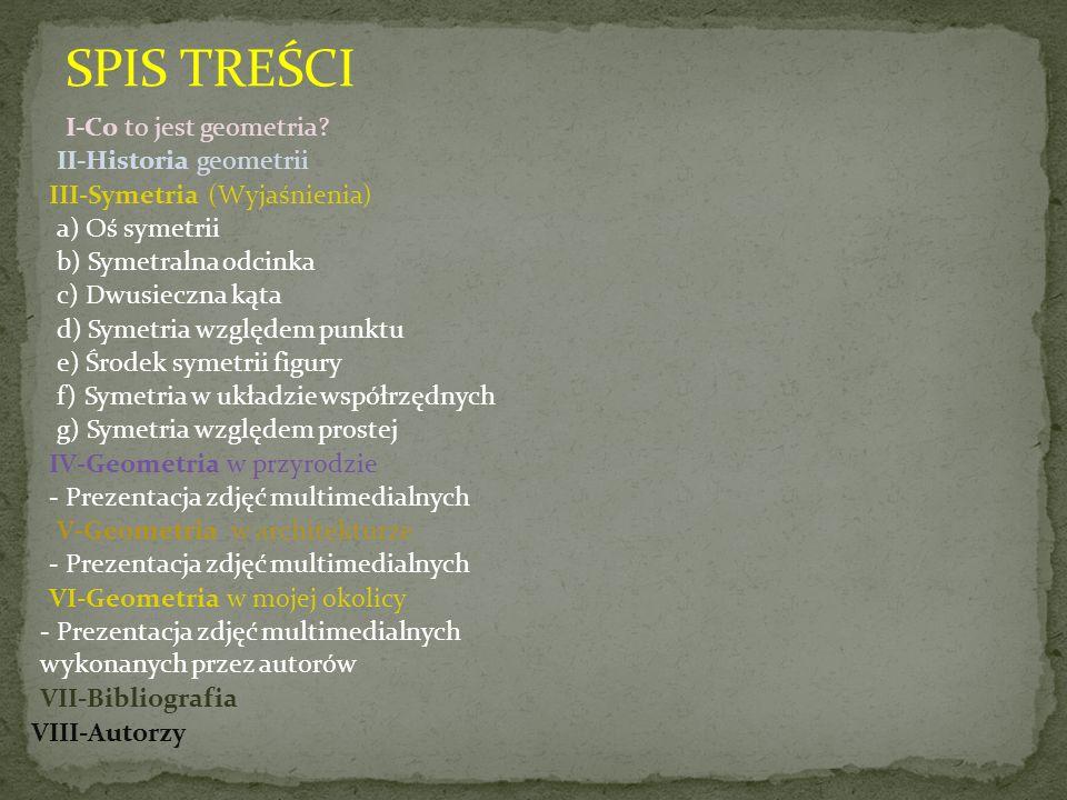 SPIS TREŚCI I-Co to jest geometria II-Historia geometrii