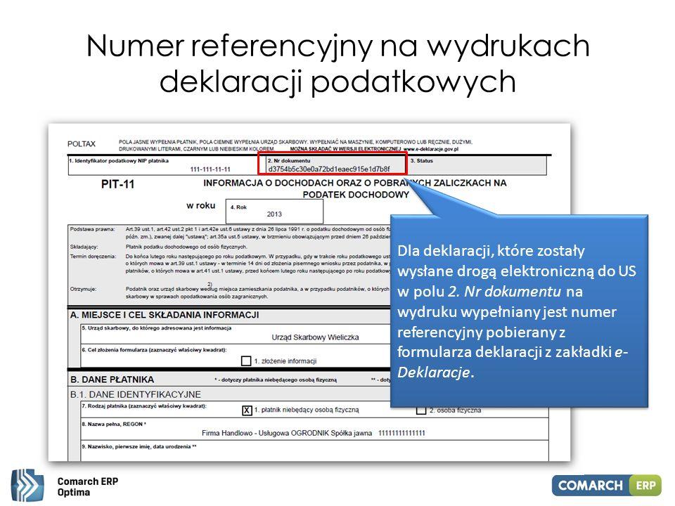 Numer referencyjny na wydrukach deklaracji podatkowych