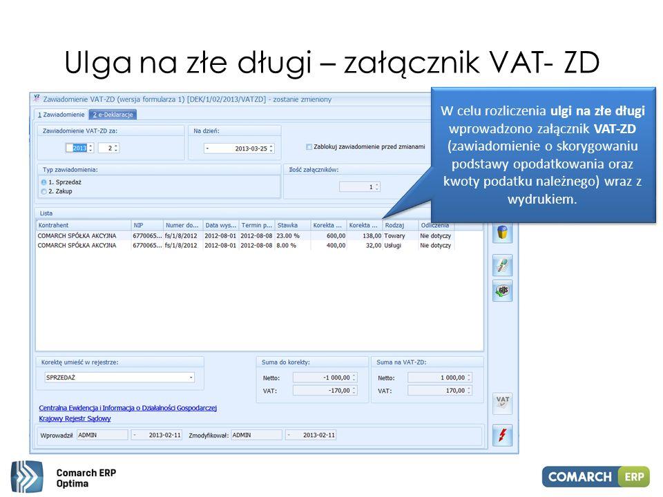 Ulga na złe długi – załącznik VAT- ZD