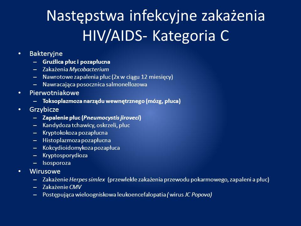 Następstwa infekcyjne zakażenia HIV/AIDS- Kategoria C