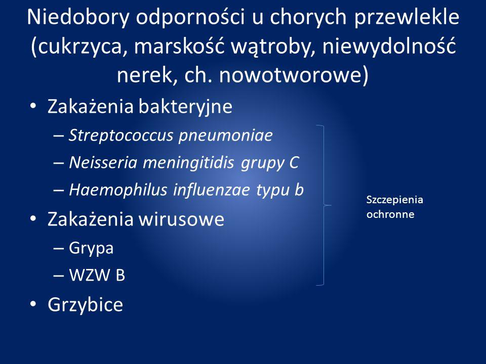 Niedobory odporności u chorych przewlekle (cukrzyca, marskość wątroby, niewydolność nerek, ch. nowotworowe)
