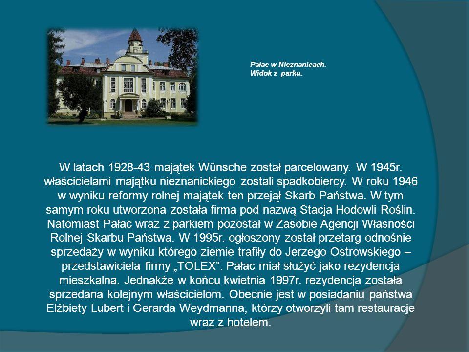 Pałac w Nieznanicach.Widok z parku.