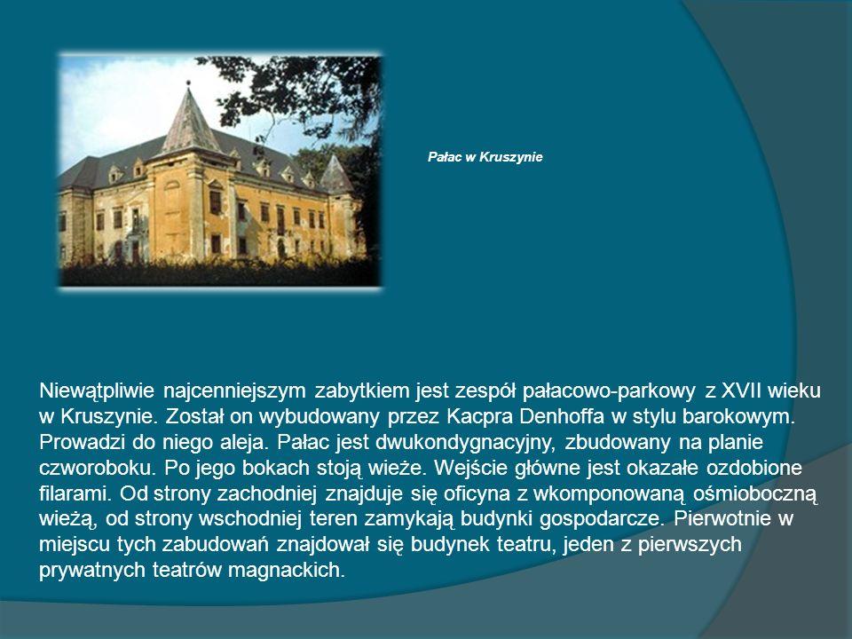 Pałac w KruszynieNiewątpliwie najcenniejszym zabytkiem jest zespół pałacowo-parkowy z XVII wieku.