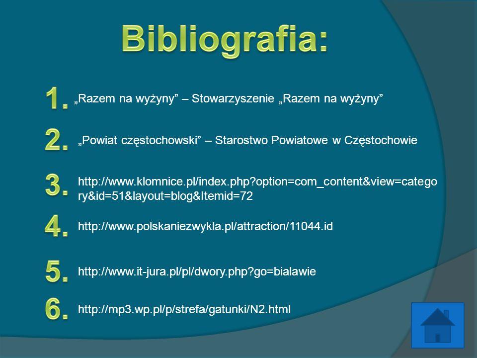 """Bibliografia:1. """"Razem na wyżyny – Stowarzyszenie """"Razem na wyżyny 2. """"Powiat częstochowski – Starostwo Powiatowe w Częstochowie."""