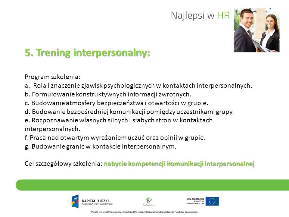 5. Trening interpersonalny: Program szkolenia: a