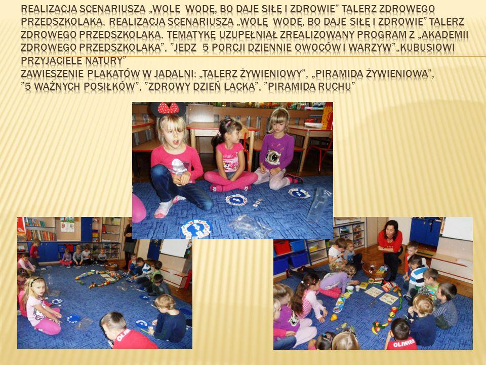 """Realizacja scenariusza """"Wolę wodę, bo daje siłę i zdrowie Talerz zdrowego przedszkolaka."""