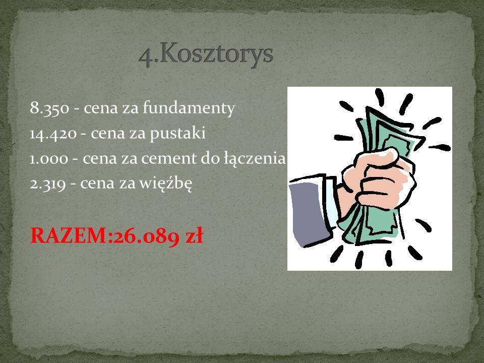 4.Kosztorys RAZEM:26.089 zł 8.350 - cena za fundamenty
