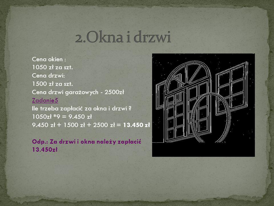 2.Okna i drzwi Cena okien : 1050 zł za szt. Cena drzwi: