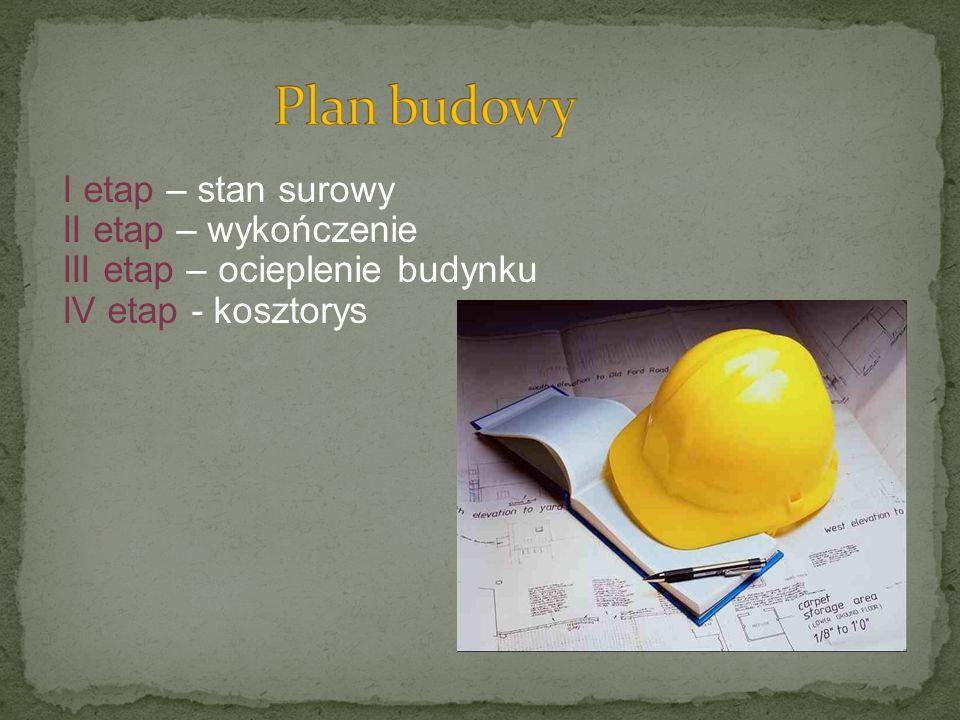 Plan budowy I etap – stan surowy II etap – wykończenie