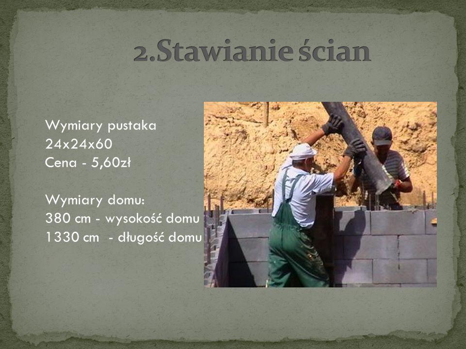 2.Stawianie ścian Wymiary pustaka 24x24x60 Cena - 5,60zł Wymiary domu: